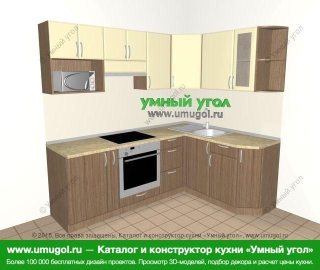 Угловая кухня МДФ матовый 5,5 м², 2200 на 1600 мм, Ваниль / Лиственница бронзовая: верхние модули 720 мм, корзина-бутылочница, встроенный духовой шкаф, модуль под свч