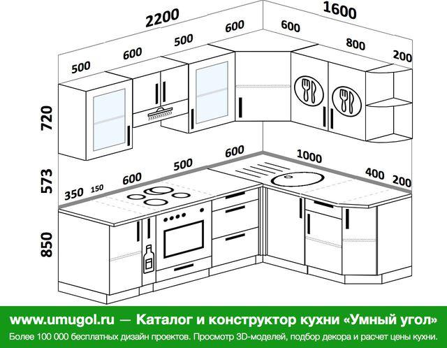 Планировка угловой кухни 5,5 м², 220 на 160 см