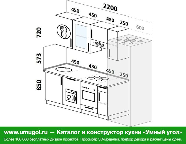 Планировка прямой кухни 5,0 м², 220 см (зеркальный проект)