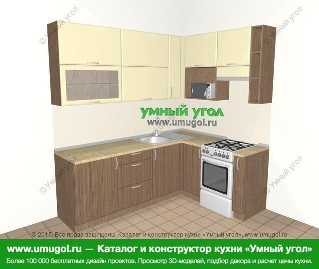 Угловая кухня МДФ матовый 6,2 м², 2200 на 1600 мм (зеркальный проект), Ваниль / Лиственница бронзовая: верхние модули 920 мм, отдельно стоящая плита, корзина-бутылочница, верхний витринный модуль под свч