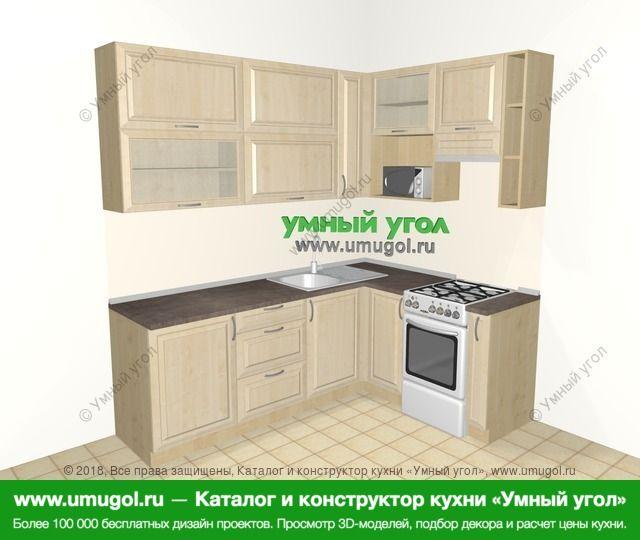 Угловая кухня из массива дерева 6,2 м², 2200 на 1600 мм (зеркальный проект), Светло-коричневые оттенки: верхние модули 920 мм, отдельно стоящая плита, корзина-бутылочница, верхний витринный модуль под свч
