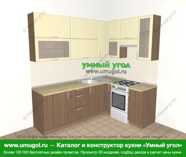 Угловая кухня МДФ матовый 6,2 м², 2200 на 1600 мм (зеркальный проект), Ваниль / Лиственница бронзовая: верхние модули 920 мм, корзина-бутылочница, отдельно стоящая плита