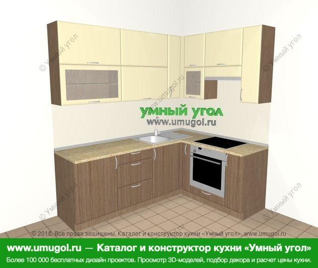 Угловая кухня МДФ матовый 6,2 м², 2200 на 1600 мм (зеркальный проект), Ваниль / Лиственница бронзовая: верхние модули 920 мм, корзина-бутылочница, встроенный духовой шкаф