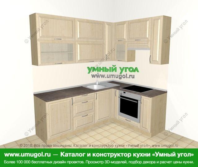 Угловая кухня из массива дерева 6,2 м², 2200 на 1600 мм (зеркальный проект), Светло-коричневые оттенки: верхние модули 920 мм, корзина-бутылочница, встроенный духовой шкаф