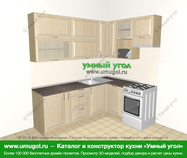 Угловая кухня из массива дерева 6,2 м², 2200 на 1600 мм (зеркальный проект), Светло-коричневые оттенки: верхние модули 920 мм, корзина-бутылочница, посудомоечная машина, отдельно стоящая плита, верхний витринный модуль под свч