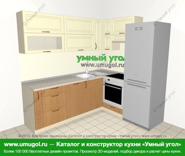 Угловая кухня из МДФ + ЛДСП 6,2 м², 2200 на 1800 мм (зеркальный проект), Ваниль / Ольха: верхние модули 720 мм, корзина-бутылочница, посудомоечная машина, встроенный духовой шкаф, холодильник