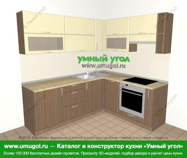 Угловая кухня МДФ матовый 6,2 м², 2200 на 1800 мм (зеркальный проект), Ваниль / Лиственница бронзовая: верхние модули 720 мм, посудомоечная машина, встроенный духовой шкаф, корзина-бутылочница