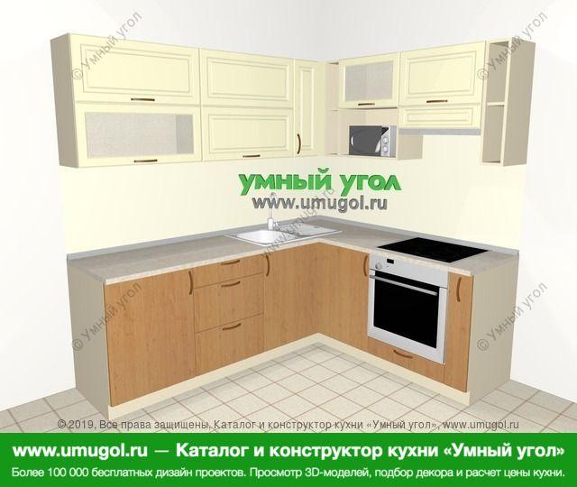 Угловая кухня из МДФ + ЛДСП 6,2 м², 2200 на 1800 мм (зеркальный проект), Ваниль / Ольха: верхние модули 720 мм, встроенный духовой шкаф, корзина-бутылочница, верхний витринный модуль под свч