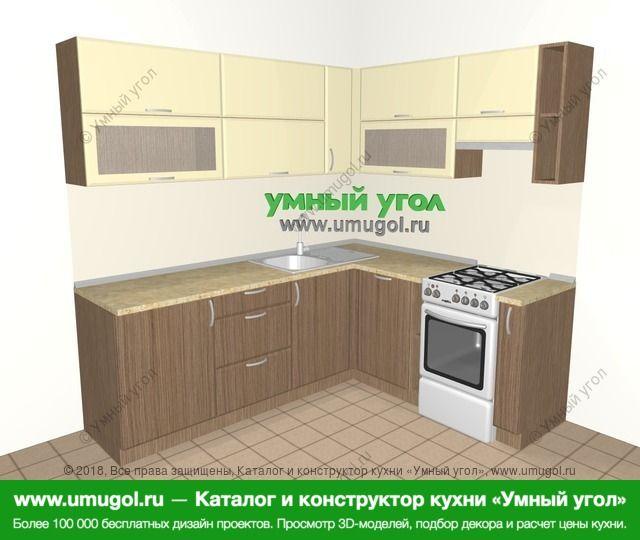 Угловая кухня МДФ матовый 6,2 м², 2200 на 1800 мм (зеркальный проект), Ваниль / Лиственница бронзовая: верхние модули 720 мм, посудомоечная машина, отдельно стоящая плита, корзина-бутылочница