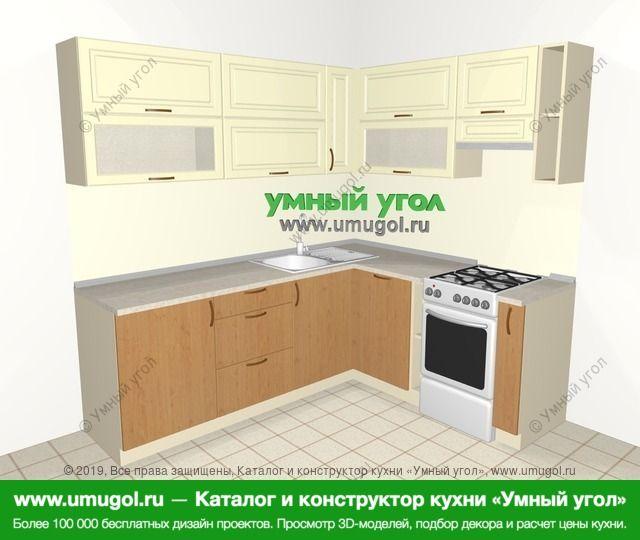Угловая кухня из МДФ + ЛДСП 6,2 м², 2200 на 1800 мм (зеркальный проект), Ваниль / Ольха: верхние модули 720 мм, посудомоечная машина, отдельно стоящая плита, корзина-бутылочница