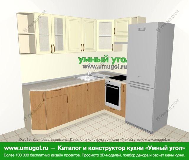 Угловая кухня из МДФ + ЛДСП 6,2 м², 2200 на 1800 мм (зеркальный проект), Ваниль / Ольха: верхние модули 720 мм, посудомоечная машина, встроенный духовой шкаф, корзина-бутылочница, холодильник