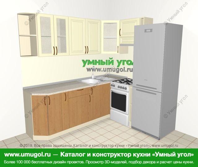 Угловая кухня из МДФ + ЛДСП 6,2 м², 2200 на 1800 мм (зеркальный проект), Ваниль / Ольха: верхние модули 720 мм, корзина-бутылочница, отдельно стоящая плита, холодильник