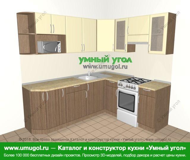 Угловая кухня МДФ матовый 6,2 м², 2200 на 1800 мм (зеркальный проект), Ваниль / Лиственница бронзовая: верхние модули 720 мм, корзина-бутылочница, отдельно стоящая плита, модуль под свч