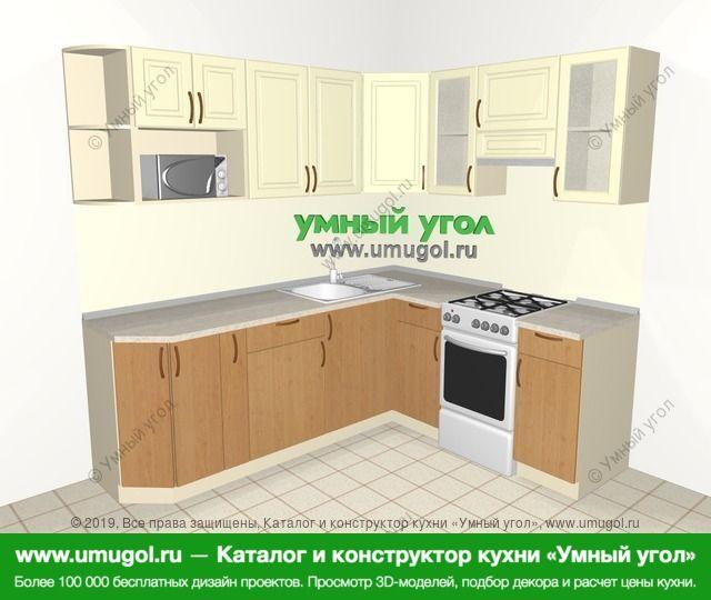 Угловая кухня из МДФ + ЛДСП 6,2 м², 2200 на 1800 мм (зеркальный проект), Ваниль / Ольха: верхние модули 720 мм, корзина-бутылочница, отдельно стоящая плита, модуль под свч