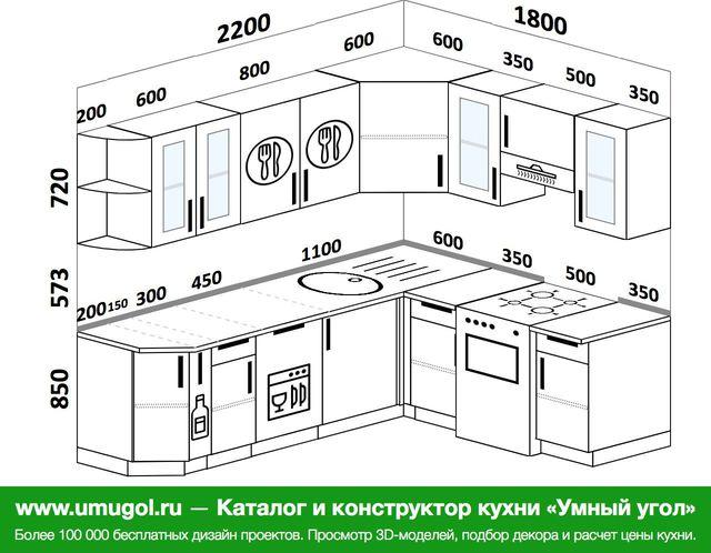 Планировка угловой кухни 6,2 м², 220 на 180 см (зеркальный проект)