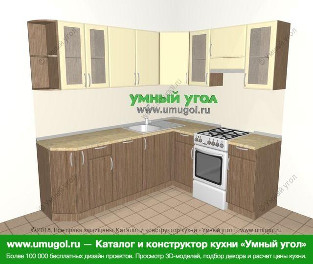 Угловая кухня МДФ матовый 6,2 м², 2200 на 1800 мм (зеркальный проект), Ваниль / Лиственница бронзовая: верхние модули 720 мм, корзина-бутылочница, посудомоечная машина, отдельно стоящая плита