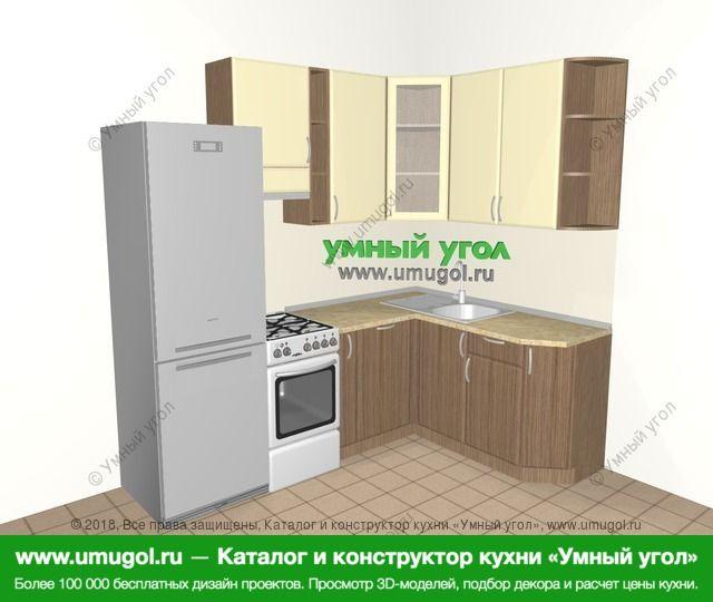 Угловая кухня МДФ матовый 5,7 м², 2300 на 1600 мм, Ваниль / Лиственница бронзовая: верхние модули 920 мм, холодильник, отдельно стоящая плита, корзина-бутылочница, посудомоечная машина