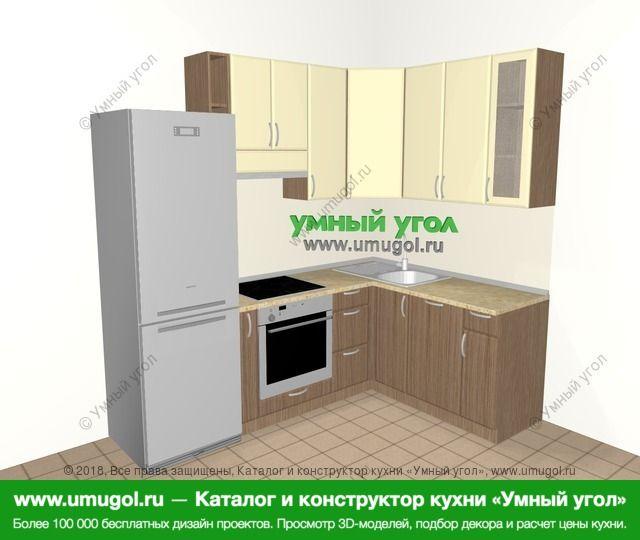 Угловая кухня МДФ матовый 5,7 м², 2300 на 1600 мм, Ваниль / Лиственница бронзовая: верхние модули 920 мм, холодильник, корзина-бутылочница, встроенный духовой шкаф, посудомоечная машина