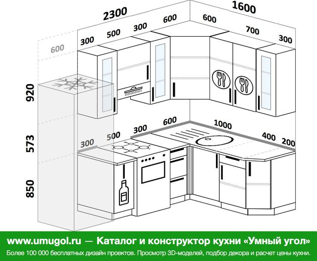 Планировка угловой кухни 5,7 м², 2300 на 1600 мм: верхние модули 920 мм, холодильник, корзина-бутылочница, отдельно стоящая плита