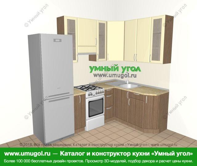 Угловая кухня МДФ матовый 5,7 м², 2300 на 1600 мм, Ваниль / Лиственница бронзовая: верхние модули 920 мм, холодильник, корзина-бутылочница, отдельно стоящая плита
