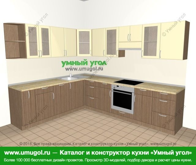 Угловая кухня МДФ матовый 9,2 м², 2300 на 2900 мм (зеркальный проект), Ваниль / Лиственница бронзовая: верхние модули 720 мм, корзина-бутылочница, посудомоечная машина, встроенный духовой шкаф