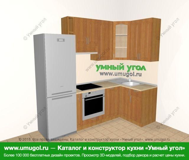 Угловая кухня МДФ матовый 5,2 м², 2400 на 1200 мм, Вишня: верхние модули 920 мм, холодильник, корзина-бутылочница, встроенный духовой шкаф, посудомоечная машина