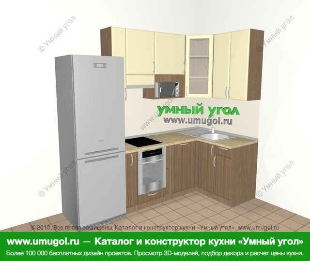 Угловая кухня МДФ матовый 5,2 м², 2400 на 1200 мм, Ваниль / Лиственница бронзовая: верхние модули 920 мм, холодильник, корзина-бутылочница, встроенный духовой шкаф, посудомоечная машина, модуль под свч