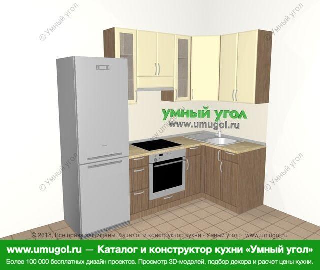 Угловая кухня МДФ матовый 5,2 м², 2400 на 1200 мм, Ваниль / Лиственница бронзовая: верхние модули 920 мм, холодильник, встроенный духовой шкаф