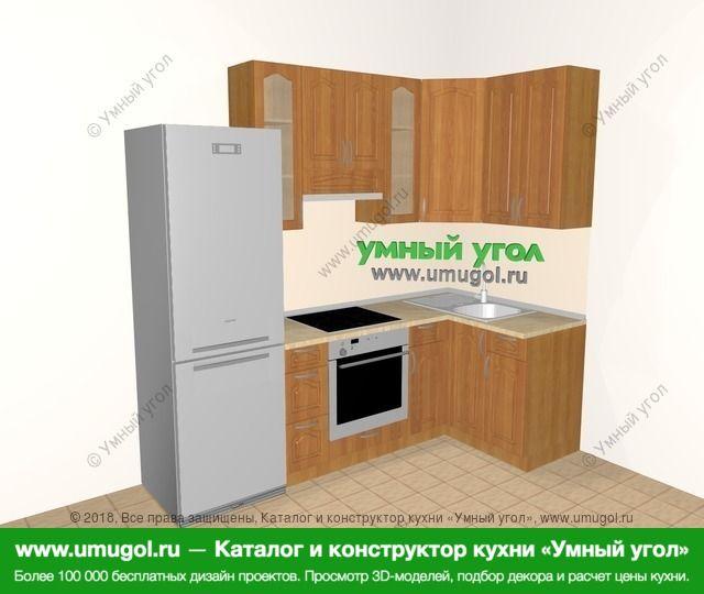Угловая кухня МДФ матовый 5,2 м², 2400 на 1200 мм, Вишня: верхние модули 920 мм, холодильник, встроенный духовой шкаф