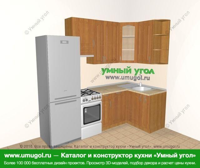 Угловая кухня МДФ матовый 5,2 м², 2400 на 1200 мм, Вишня: верхние модули 920 мм, холодильник, отдельно стоящая плита, посудомоечная машина, корзина-бутылочница