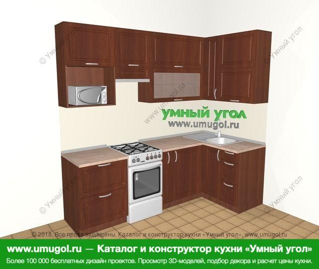 Угловая кухня МДФ матовый 5,2 м², 2400 на 1200 мм, Вишня темная: верхние модули 920 мм, отдельно стоящая плита, корзина-бутылочница, верхний витринный модуль под свч