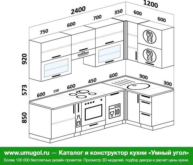 Планировка угловой кухни 5,2 м², 2400 на 1200 мм: верхние модули 920 мм, корзина-бутылочница, встроенный духовой шкаф, посудомоечная машина