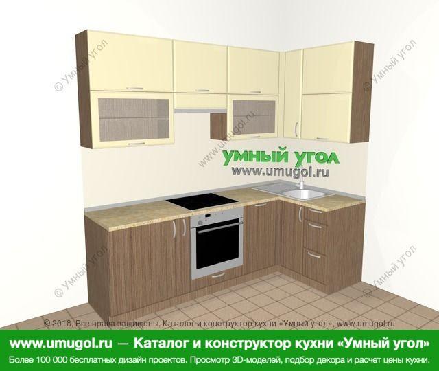 Угловая кухня МДФ матовый 5,2 м², 2400 на 1200 мм, Ваниль / Лиственница бронзовая: верхние модули 920 мм, корзина-бутылочница, встроенный духовой шкаф, посудомоечная машина