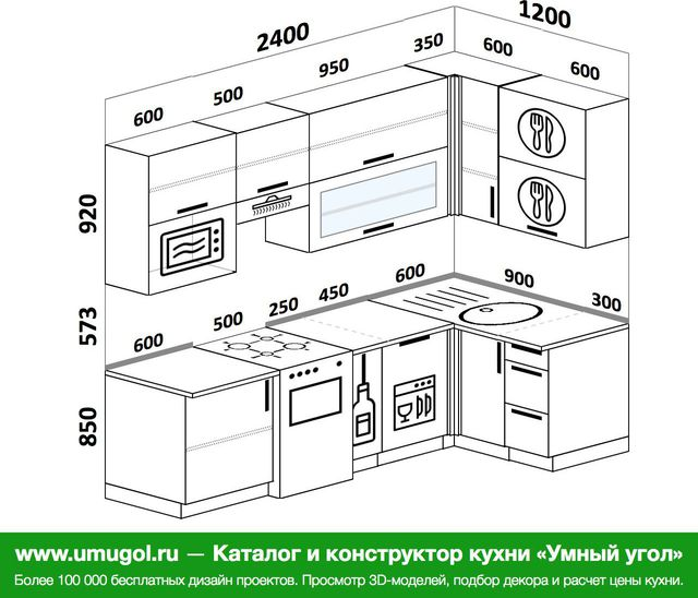 Планировка угловой кухни 5,2 м², 2400 на 1200 мм: верхние модули 920 мм, отдельно стоящая плита, корзина-бутылочница, посудомоечная машина, верхний витринный модуль под свч