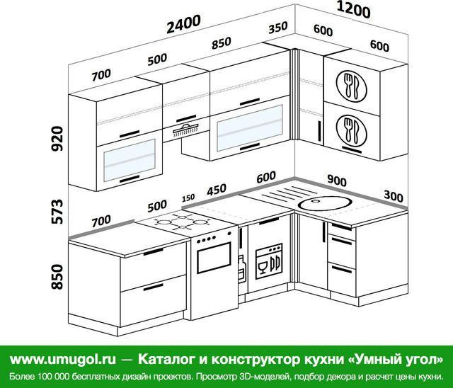 Планировка угловой кухни 5,2 м², 2400 на 1200 мм
