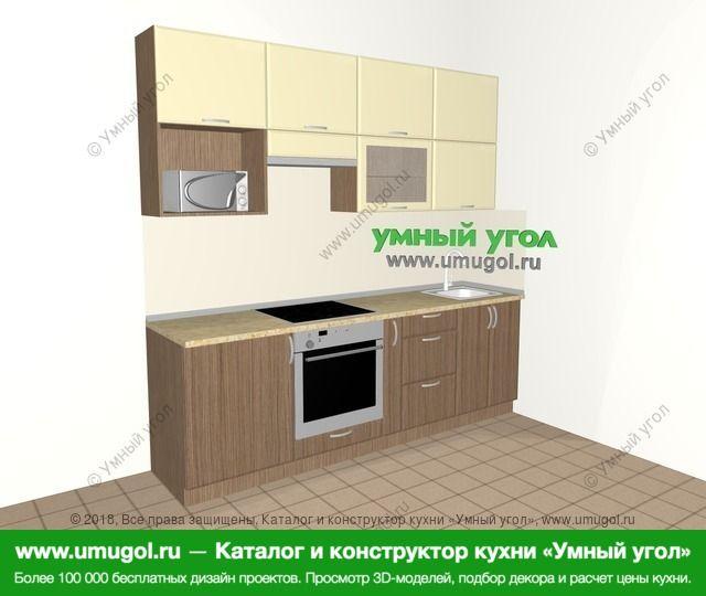 Прямая кухня МДФ матовый 5,0 м², 2400 мм, Ваниль / Лиственница бронзовая: верхние модули 920 мм, встроенный духовой шкаф, корзина-бутылочница, верхний витринный модуль под свч