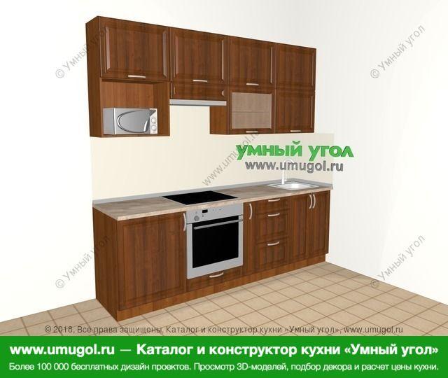 Прямая кухня из массива дерева 5,0 м², 2400 мм, Темно-коричневые оттенки: верхние модули 920 мм, встроенный духовой шкаф, корзина-бутылочница, верхний витринный модуль под свч