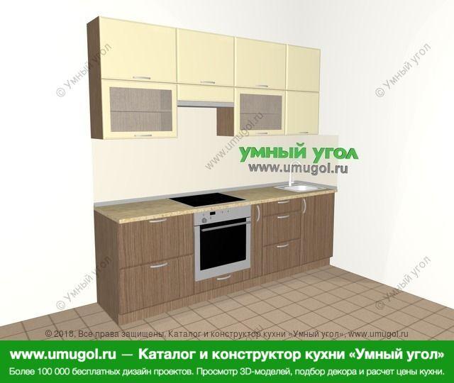Прямая кухня МДФ матовый 5,0 м², 2400 мм, Ваниль / Лиственница бронзовая: верхние модули 920 мм, встроенный духовой шкаф, корзина-бутылочница