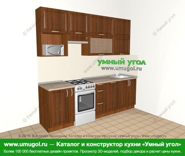 Прямая кухня из массива дерева 5,0 м², 2400 мм, Темно-коричневые оттенки: верхние модули 920 мм, корзина-бутылочница, отдельно стоящая плита, посудомоечная машина, верхний витринный модуль под свч