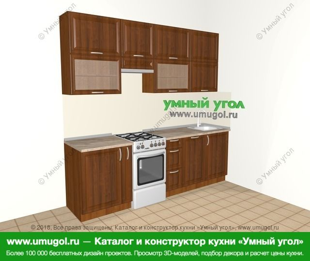 Прямая кухня из массива дерева 5,0 м², 2400 мм, Темно-коричневые оттенки: верхние модули 920 мм, корзина-бутылочница, отдельно стоящая плита, посудомоечная машина