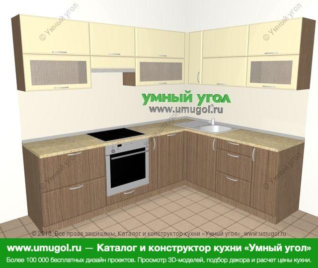 Угловая кухня МДФ матовый 7,0 м², 2500 на 1900 мм, Ваниль / Лиственница бронзовая: верхние модули 720 мм, встроенный духовой шкаф, корзина-бутылочница, посудомоечная машина