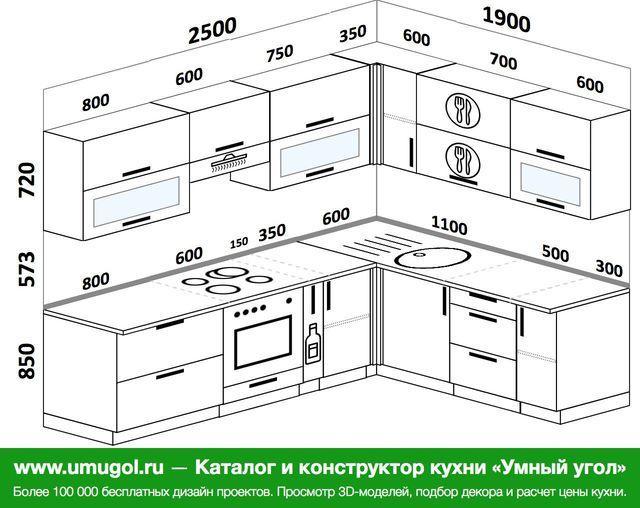 Планировка угловой кухни 7,0 м², 2500 на 1900 мм: верхние модули 720 мм, встроенный духовой шкаф, корзина-бутылочница