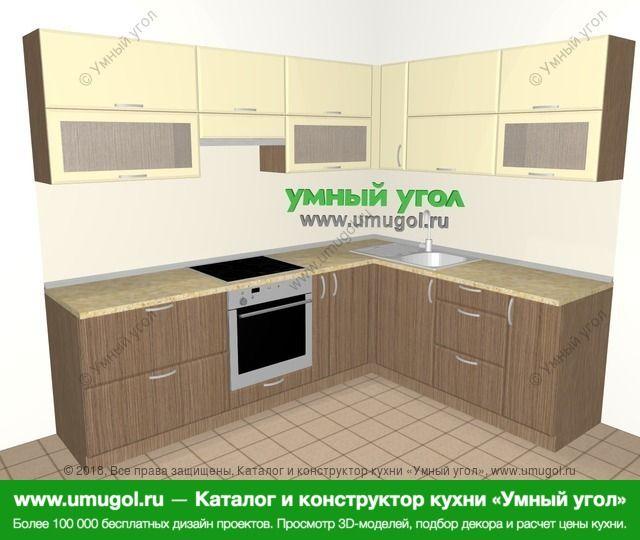 Угловая кухня МДФ матовый 7,0 м², 2500 на 1900 мм, Ваниль / Лиственница бронзовая: верхние модули 720 мм, встроенный духовой шкаф, корзина-бутылочница