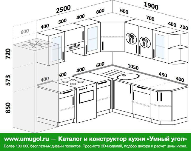 Планировка угловой кухни 7,0 м², 250 на 190 см
