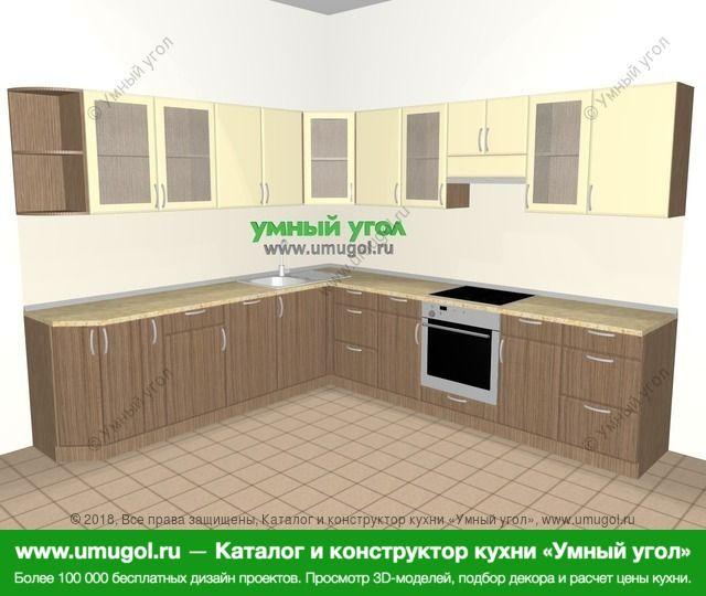 Угловая кухня МДФ матовый 10,1 м², 2600 на 2900 мм (зеркальный проект), Ваниль / Лиственница бронзовая: верхние модули 720 мм, корзина-бутылочница, посудомоечная машина, встроенный духовой шкаф