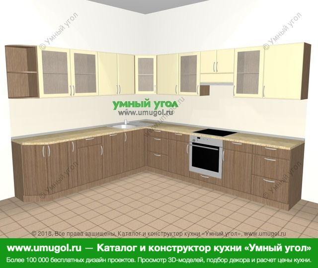 Угловая кухня МДФ матовый 11,1 м², 2700 на 3100 мм (зеркальный проект), Ваниль / Лиственница бронзовая: верхние модули 720 мм, корзина-бутылочница, посудомоечная машина, встроенный духовой шкаф