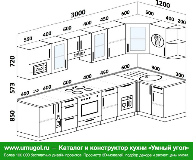 Планировка угловой кухни 6,3 м², 300 на 120 см