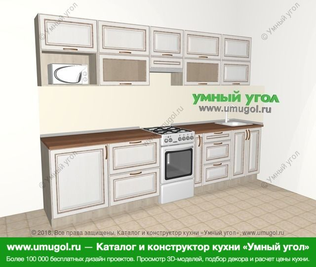 Прямая кухня МДФ патина 6,0 м², 3000 мм, Лиственница белая: верхние модули 720 мм, отдельно стоящая плита, корзина-бутылочница, модуль под свч