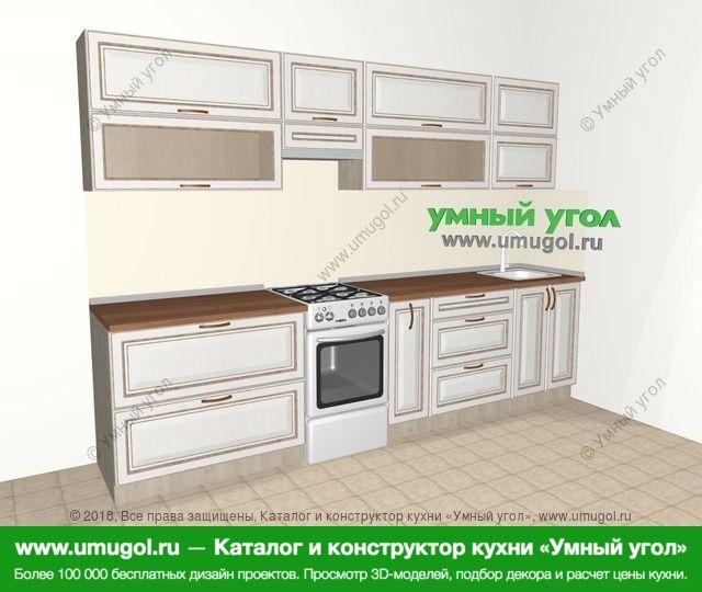 Прямая кухня МДФ патина 6,0 м², 3000 мм, Лиственница белая: верхние модули 720 мм, отдельно стоящая плита, корзина-бутылочница