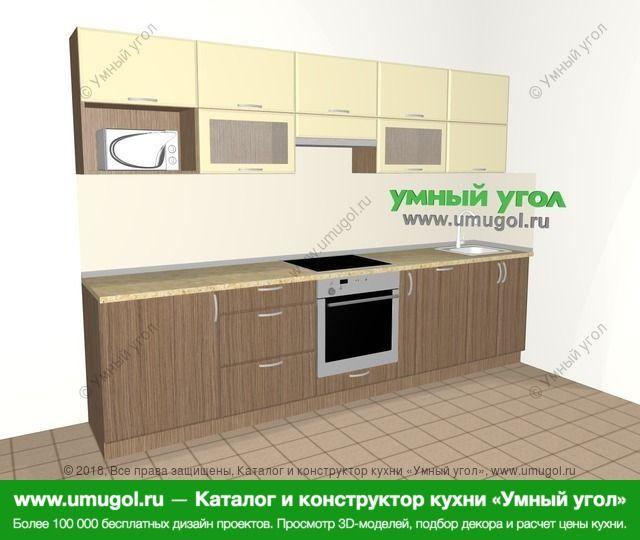 Прямая кухня МДФ матовый 6,0 м², 3000 мм, Ваниль / Лиственница бронзовая: верхние модули 720 мм, встроенный духовой шкаф, корзина-бутылочница, посудомоечная машина, модуль под свч